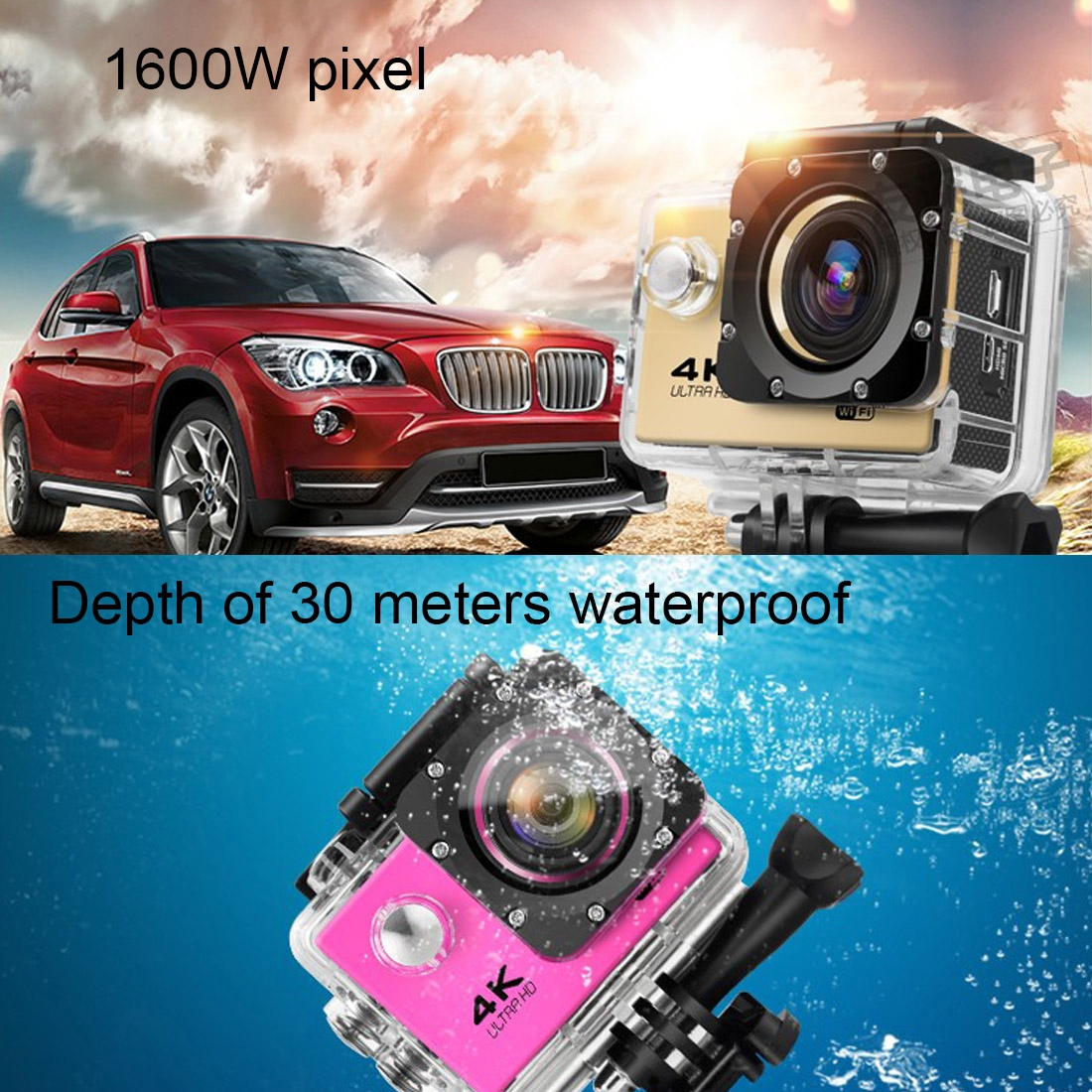 2,0 дюймовая HD спортивная мини-камера DVR 4K видео Беспроводная Wifi Водонепроницаемая Спортивная Экшн-камера