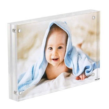 4x6 Inch Acrylic Table Top Stand Magnet Photo Frame Collage Stand for Family