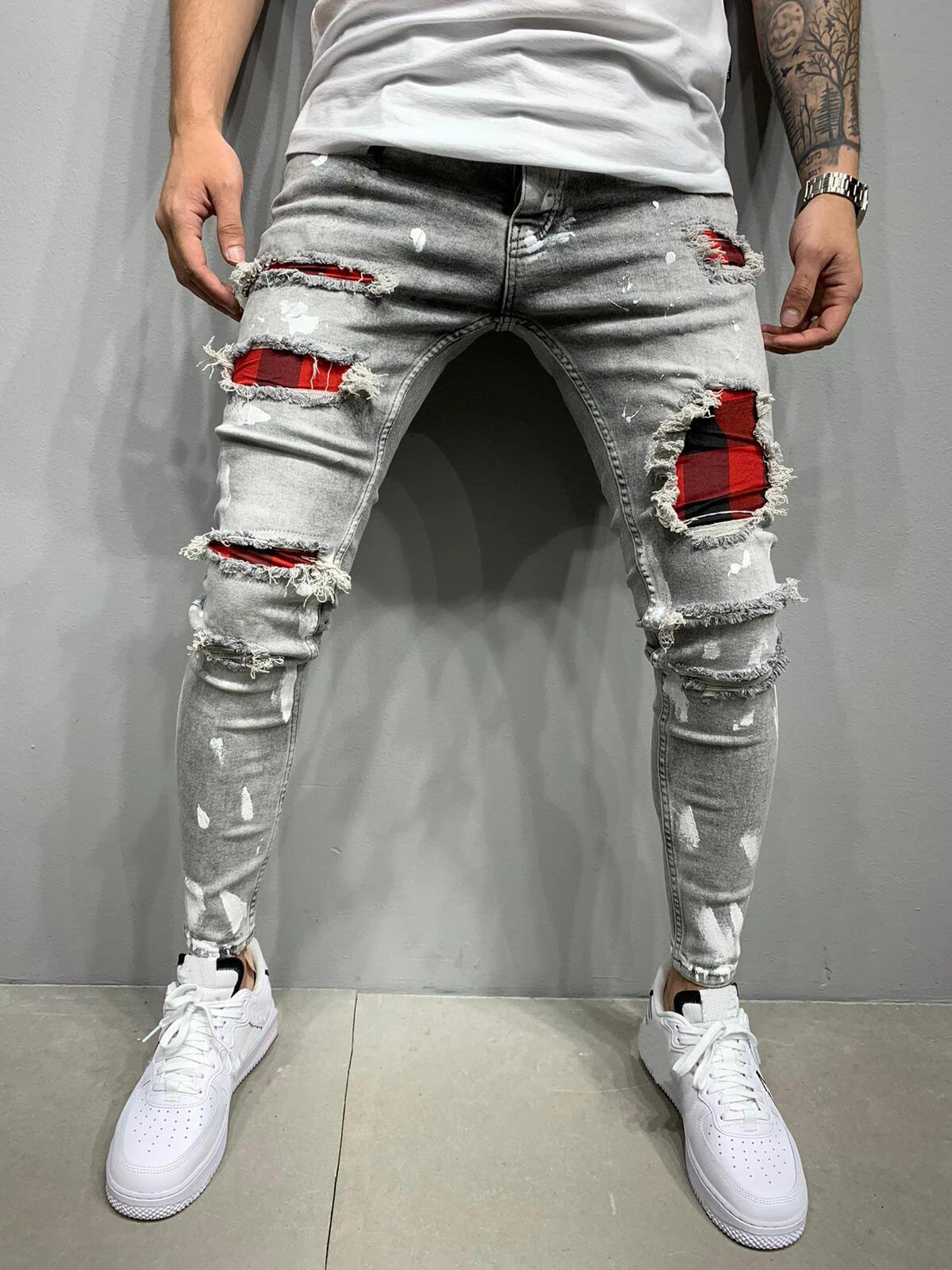 Mens clothing cheap wholesale mens high street jeans ripped pants in grey