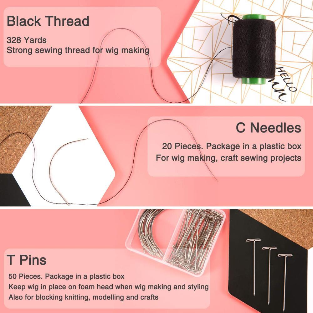 Т-образные булавки для парика, иглы, нитки в ассортименте