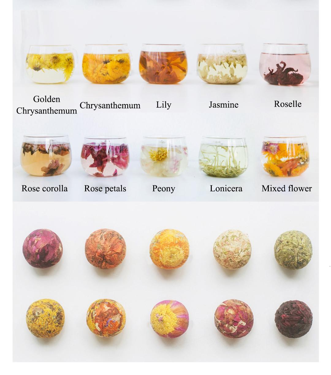 Private Label Beautiful Blooming Tea Blossom Flower Tea Ball Handmade Packaging Organic Detox Herbal Flower Tea Ball - 4uTea | 4uTea.com