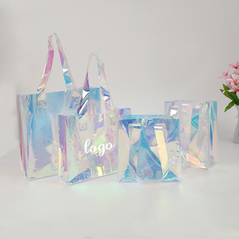 2021 new design fashionable custom logo laser holographic PVC transparent shopping tote bag