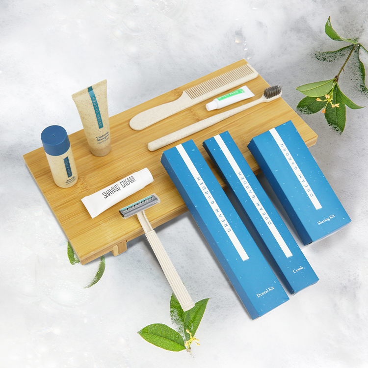 Custom Luxury OEM 5 Star Disposable Biodegradable Eco Friendly Guest Toiletries Kit Accessories Set for Bathroom Hotel Amenities