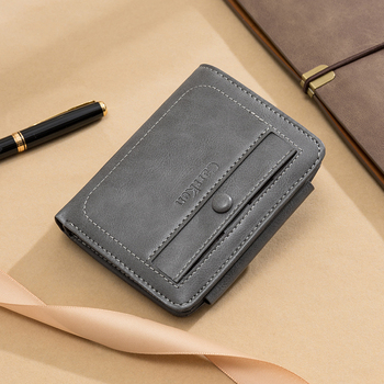 2020 Amazon New model Men's vintage Multifunctional three floding Wallet Pu Leather Wallet stock items