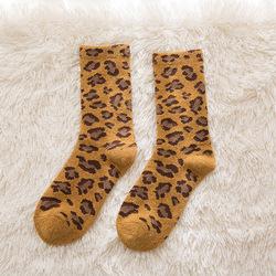 Новинка Осень-зима Индивидуальные Горячая Распродажа утолщенные женские носки сетчатые женские шерстяные носки с красным леопардовым принтом модные мягкие w