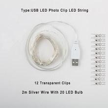 Светодиодный USB гирлянда с зажимом для фотографий, сказочные огни, наружный светодиодный светильник на батарейках, гирлянда для спальни, ук...(Китай)
