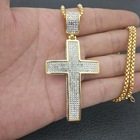 Gold Pendant Hip Hop Jewelry 316 Stainless Steel Gold Plated Cubic Zirconia CZ Cross Luxury Pendant