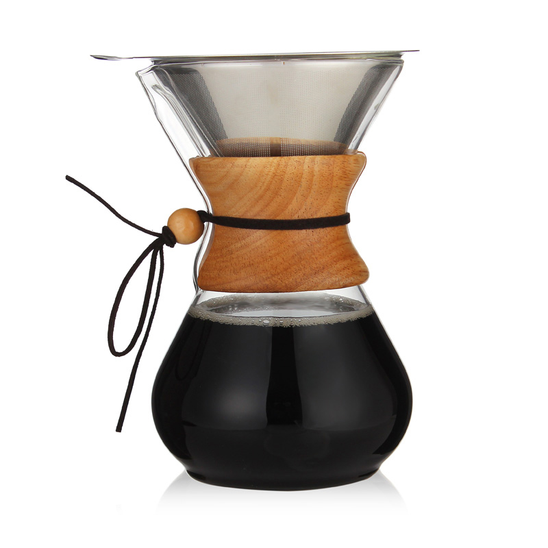 Классический стеклянный кофейник Hario V60 капельница с деревянной ручкой для кофе эспрессо капельный чайник бариста инструменты(Китай)
