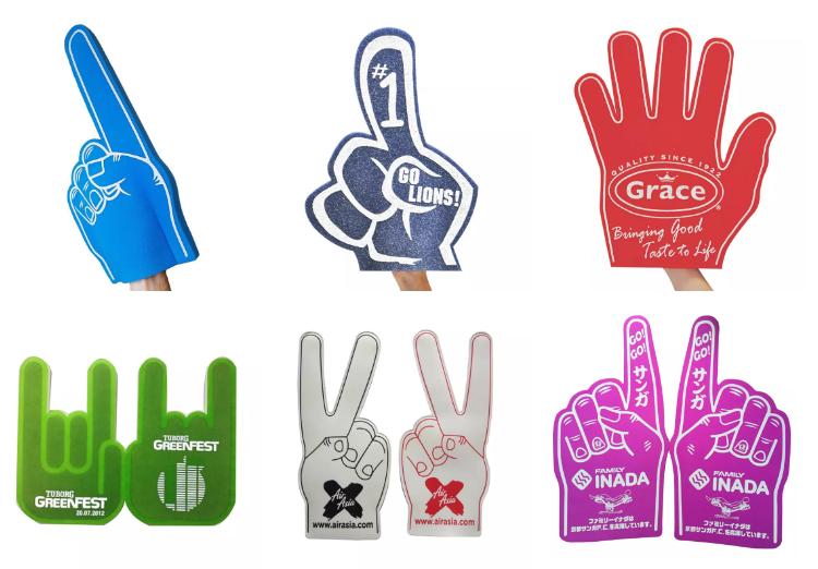 2021 пользовательский Профессиональный Большой пенопласт EVA/губчатая пена, ручной логотип под заказ, пенопластовый палец