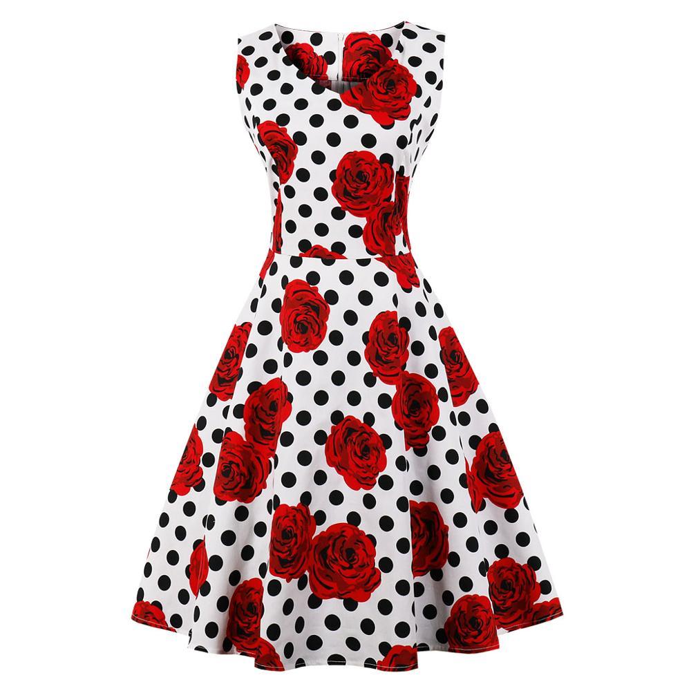 Casual Elegant Dress Womens V-neck Sleeveless Floral Polka Dot Big Size Vintage A-Line Party Evening Dress