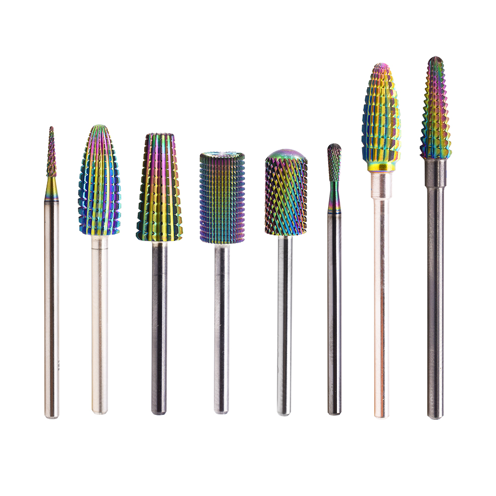 Professional Tungsten Carbide Gold 5 in 1 Large Barrel Safety Bit for Nail Art Drill Machine Manicure Nail Drill Bits