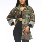 Custom Fashion High Quality Denim Long Sleeves Camouflage Army Fatigue Jacket Women