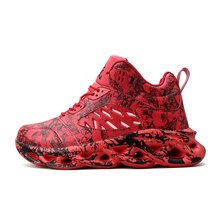 Взрывные стильные Сникеры с рисунком в виде граффити мужская обувь повседневная Баскетбольная обувь легкая и удобная мужская баскетбольна...(Китай)
