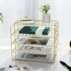 Space Shelf 4 Tier Gold Metal Organizadores-Para-Cocin Filing Space Saving Storage Stationery Office Shelf Organizer For Work Place