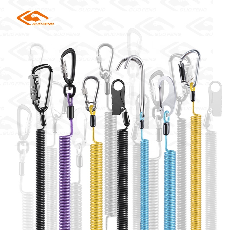 Retractable Vinyl Coated Stainless Steel Coiled Cable Safety Tool Lanyard Tether With Carabiners For Aloft Work