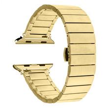 Сменный ремешок из нержавеющей стали для Apple Watch 44 мм band iwatch 5 4 Link Bracelet 40 мм Смарт-часы аксессуары петля 42 мм 38 мм(Китай)