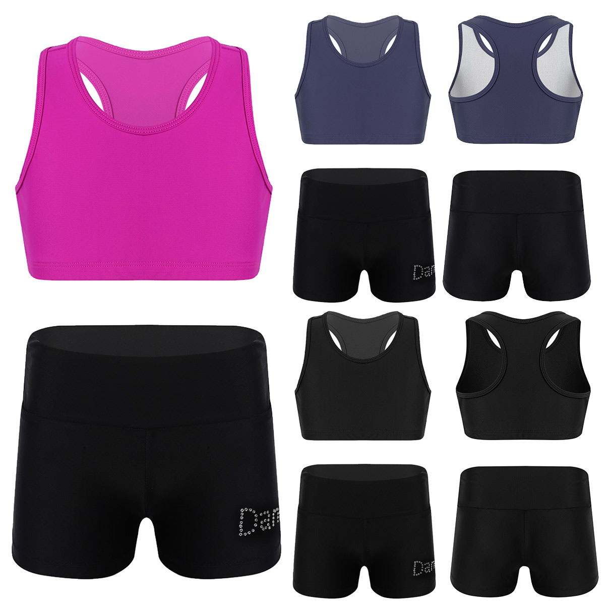 ranrann Girls 2PCS Ballet Dance Outfits Team Uniform Gymnastic Crop Top with Booty Shorts Active Sports Set