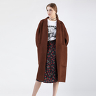 100% double faced brown ladies women winter cashmere full length wool coats