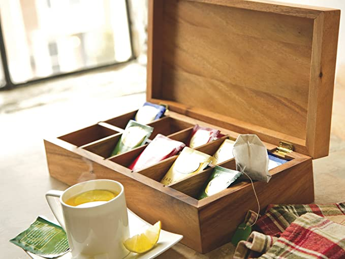 Оптовая продажа, бумажный чайный пакетик из массива дерева, деревянная коробка с 10 отсеками, чайная упаковочная коробка, органайзер для чая, шарнирная коробка
