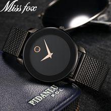 MISSFOX 40 мм минималистичные часы для женщин 5,8 мм ультра тонкий корпус стальной сетки Dw часы классические водонепроницаемые золотые аналоговы...(Китай)