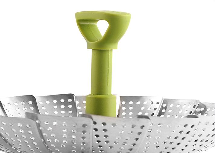 Складной пищевая Пароварка из нержавеющей стали вешалка телескопической ручкой Овощной пароход корзины
