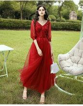 Винно-красное платье подружки невесты, несоответствие и смешанный тюль, платье подружки невесты, длинное платье для выпускного вечера с кор...(China)