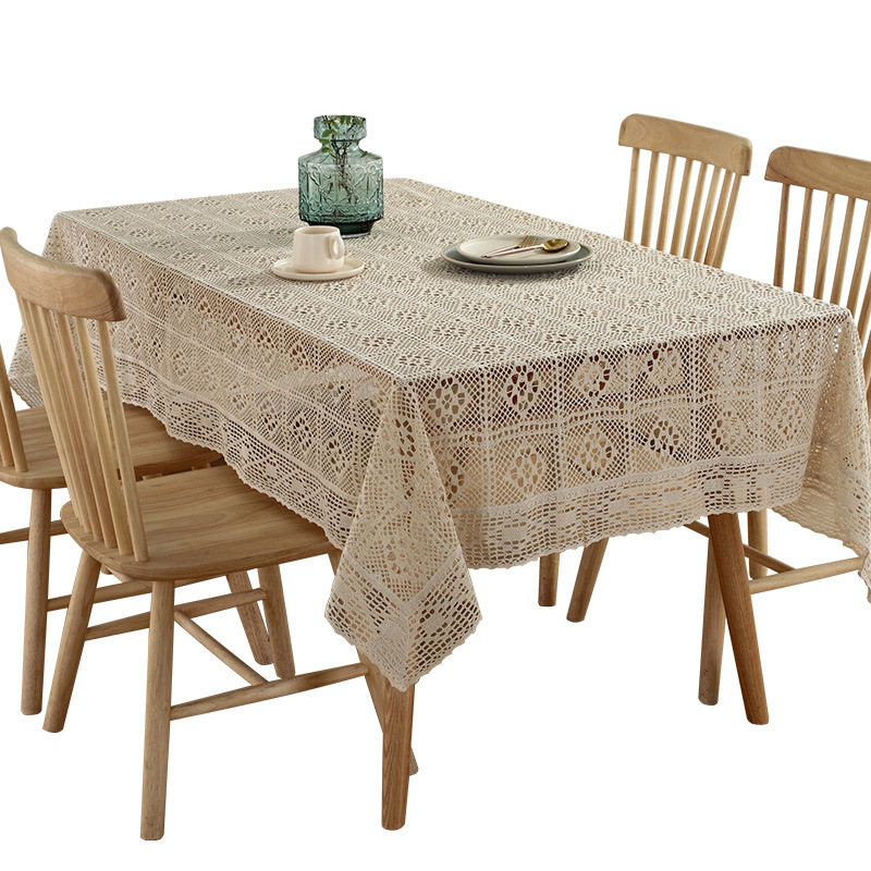T007 White Lace Tablecloth Rectangular Lace Table Cover Soft Party Wedding Home Decoration