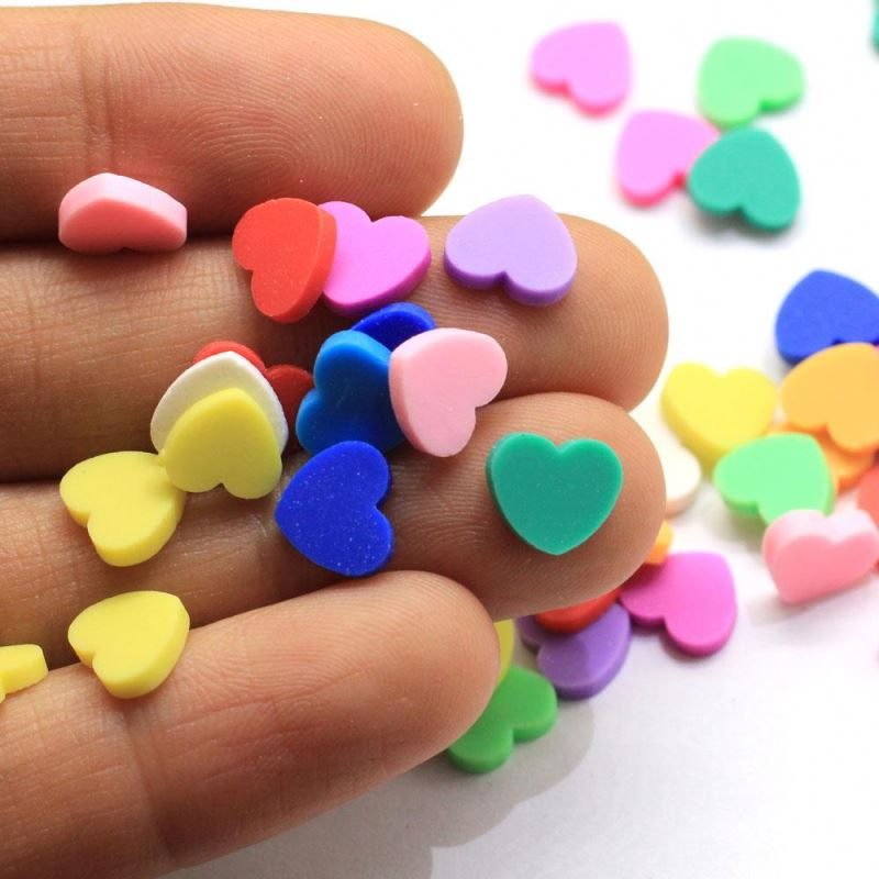 500g 8mm Hot Clay Sprinkles For Crafts Polymer Clay Cartoon Red Heart Slices DIY Slime Accessories Supply