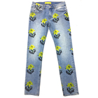 Edge Denim Factory Direct Wholesales Fashion All Over Printing Flowers Long Straight Pants Jeans Man