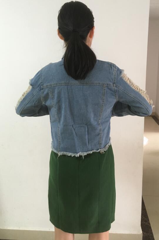 2020 fashion Ladies Denim Jacket Women Coat Casual Ripped Holes Womens Jean Jackets Plus Size Y11322