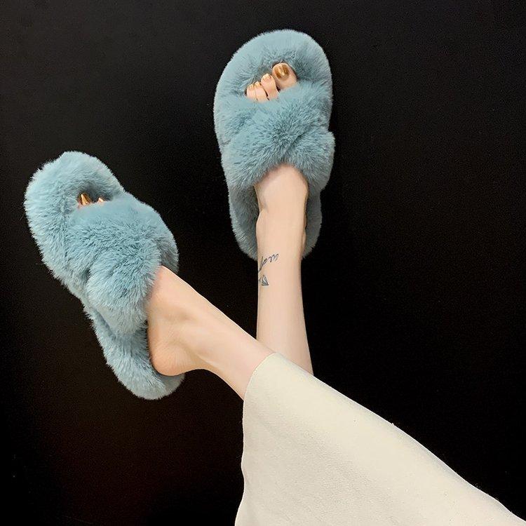 Модные женские сланцы из искусственного меха, перекрестные пушистые тапочки для женщин, зимние домашние тапочки
