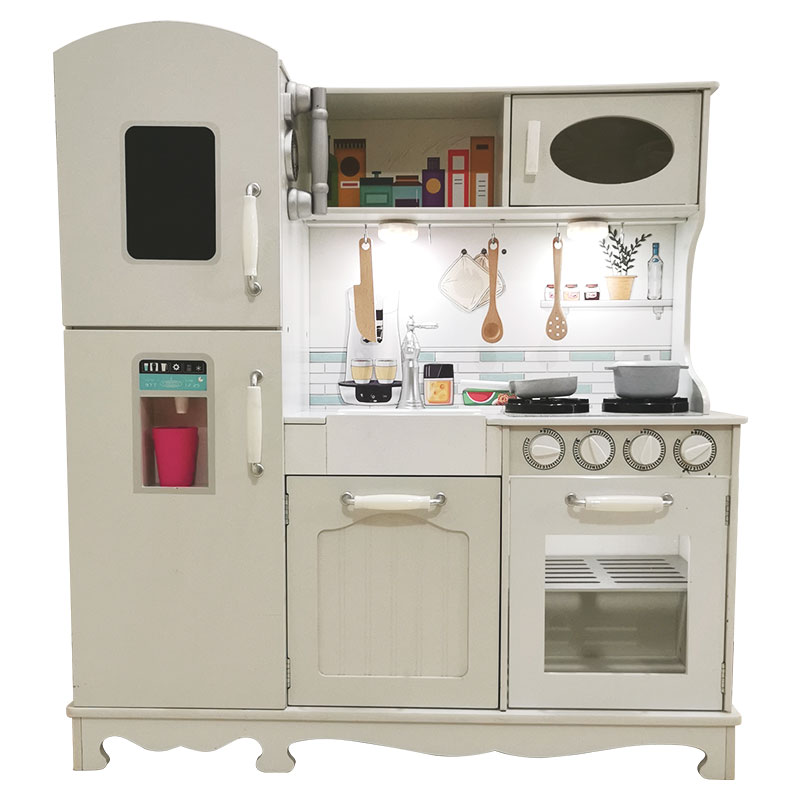New shape hot sale Role playing woden big kitchen toys wooden toys big white kitchen set wooden classic kitchen toys for kids