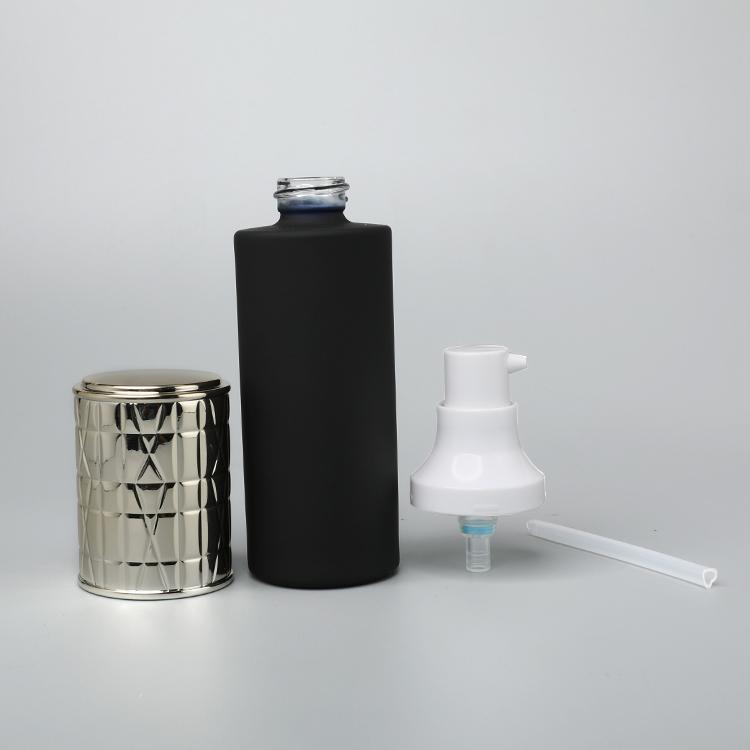 Контейнер для ухода за кожей по оптовой цене, 40 мл, круглый пустой черный косметический насос для лосьона, стеклянная бутылка