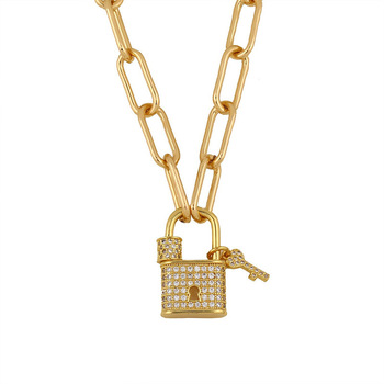 2020 Stainless Steel 18K Gold Plated Women Pendant Necklaces Simple Clavicle Chain Lock And Key Necklace