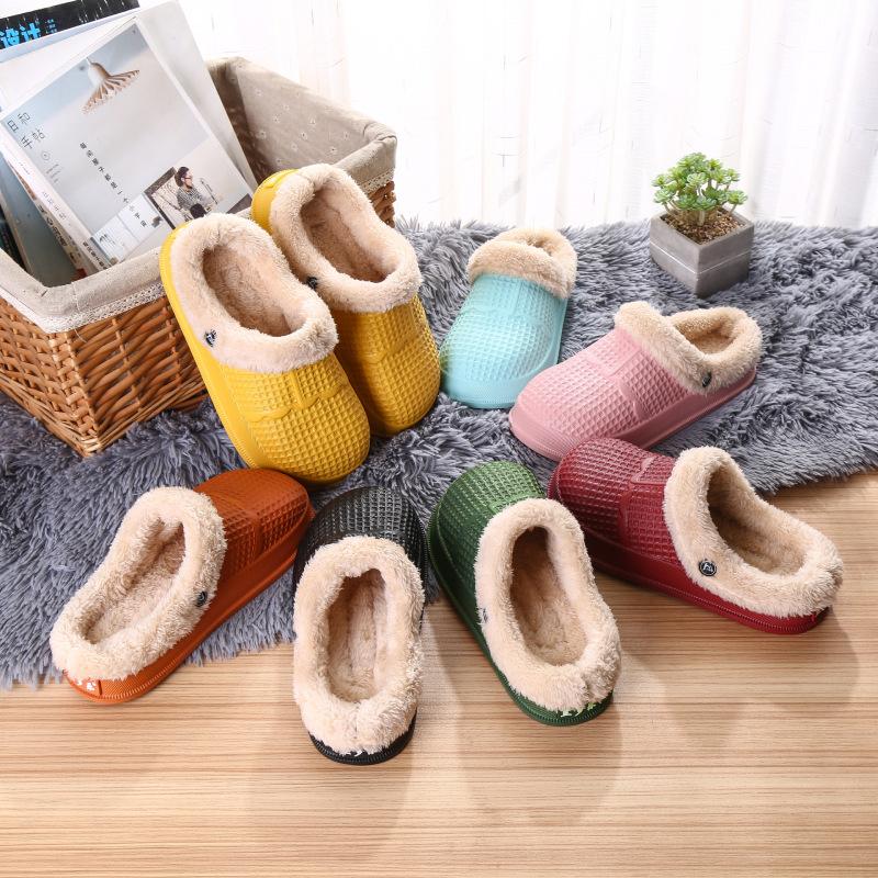 Wholesale winter New design fur inside EVA sandals light weight warmly hospital nursing garden women clogs