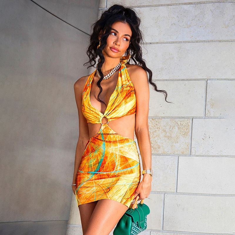 DVACAMAN New Arrivals 2021 Summer Neckline Backless Tie Sexy Low-bust Hollow Out Wrap Hips Dress Wholesale Dresses in Bulk Women