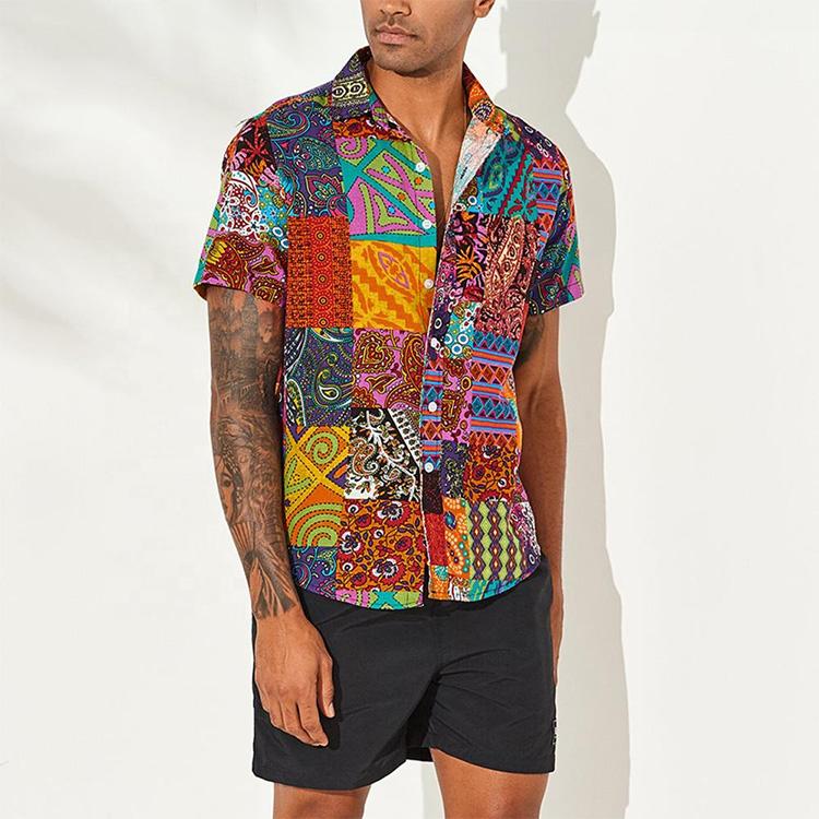 2021 Latest Custom full printing Men's Stylish Floral Shirt Cotton Button Down Short Sleeve Casual Hawaiian Shirts for Men