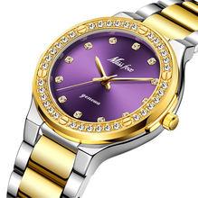 MISSFOX женские часы брендовые роскошные часы женские бриллиантовые Модные фиолетовые Geneva 18 К Золотые женские часы женские кварцевые часы(Китай)