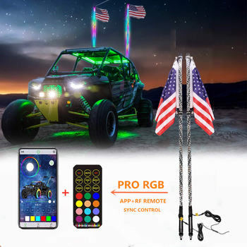 2ft-6ft Safety whip Chasing Colors LED Lighted Whip Antennas Bluetooth Flag Light for ATV UTV Buggy RZR Offroad Cars