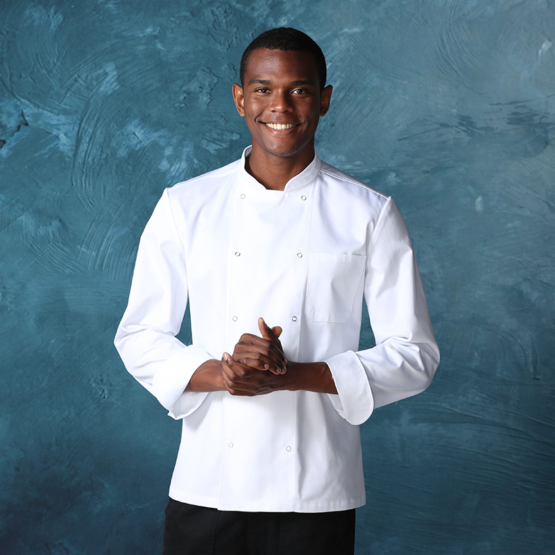 CHECKEDOUT unisex long sleeve Five-claw button chef uniform