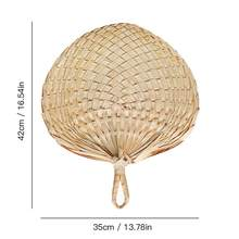 Вентилятор ручной работы в китайском стиле из натурального ручного плетения, лопасти вентилятора в виде пальмовых листьев, портативный охл...(China)