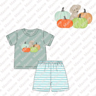 Girls Girl Clothes Cotton Baby Girl Clothes Set 2021 Maxine Baby Girls Boutique Fall Pumpkin Embroidery Outfit Children Girl Stripe Clothes Knit Cotton Clothing Set