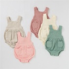 Summer Organic Cotton Muslin Baby Clothes Sleeveless Romper Strap Pants With Pocket Solid Baby Bodysuit