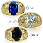 Cz Rings Ring Rings Ahappy Brand New High Quality CZ Mens Rings Gold Vacuum Plating Fashion Figure Ring Blue Black White Stone