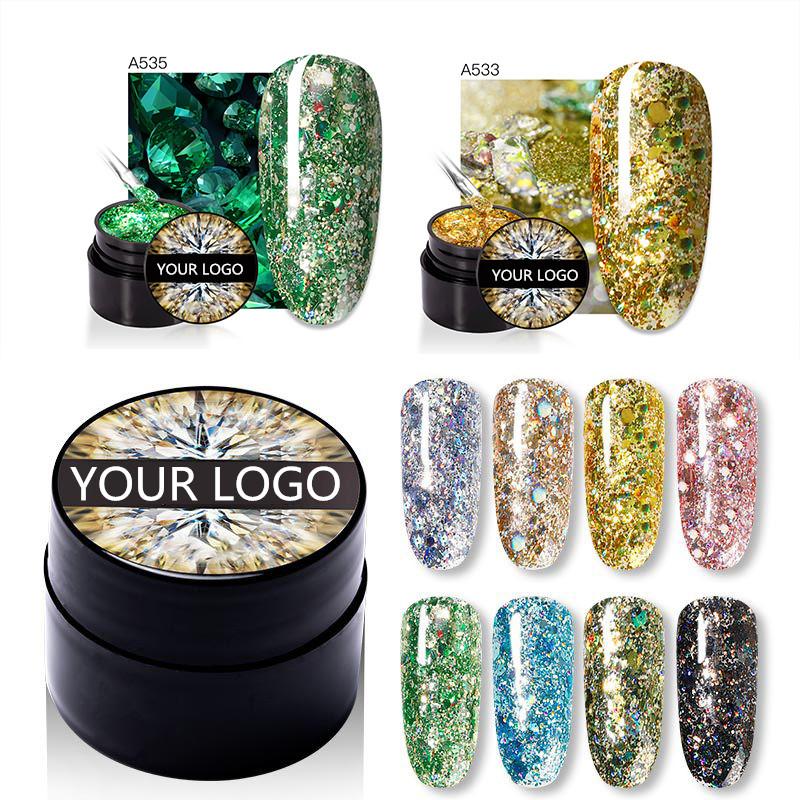2021 последних 5 мл Блестящий Алмаз драгоценного камня Гель-лак био-Гели soak off УФ гель для высокое качество УФ-гель ногтей tech объем поставок