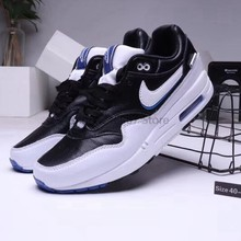 Оригинальный Nike Air Max 1 двойной крюк air cushion Max 87 Мужская Спортивная обувь для бега Размер 40-45 черный и белый()