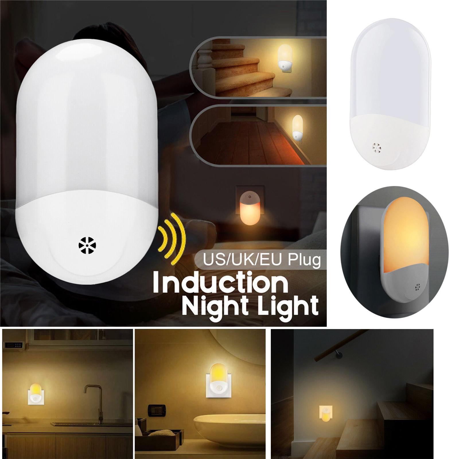Built-in Sensitive Light Sensor 2LED Night Light Warm White Bedroom Wall Plug-in