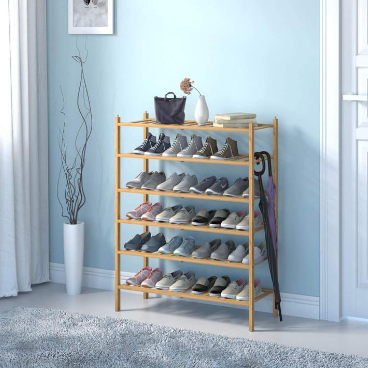 Natural Colored Stackable ShoeStorage Rack