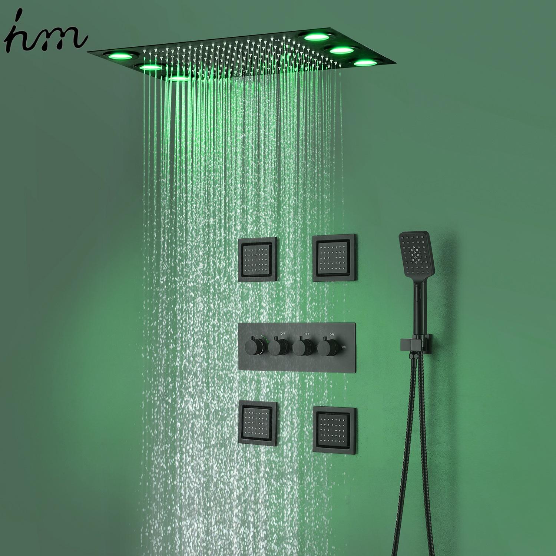 Насадка для душа HM SPA с навесом, лейка для душа с большим боковым распылением, 4 дюйма, Многофункциональный светодиодный светильник с рисунком под дождем и смешанным режимом