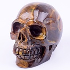Tiger Stone Gemstone Home Decoration Hand Carved Realistic Yellow Tiger Eye Stone Crystal Skull